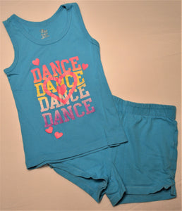 The Children's Place Blue Dance Dance Dance Dance Tank Top with Matching Blue Shorts