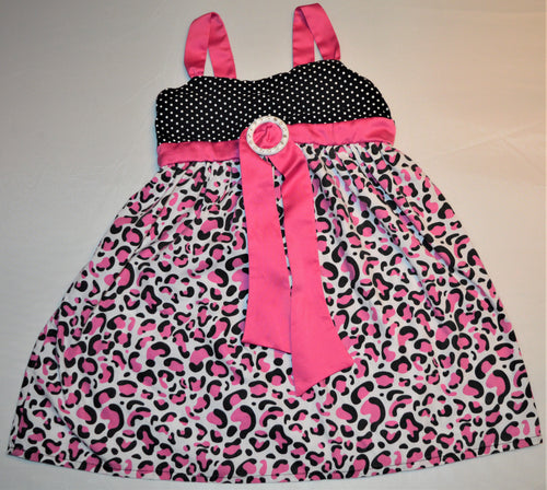 Sugah and Honey Black and White Polka Dot with Pink Cheetah Print Dress