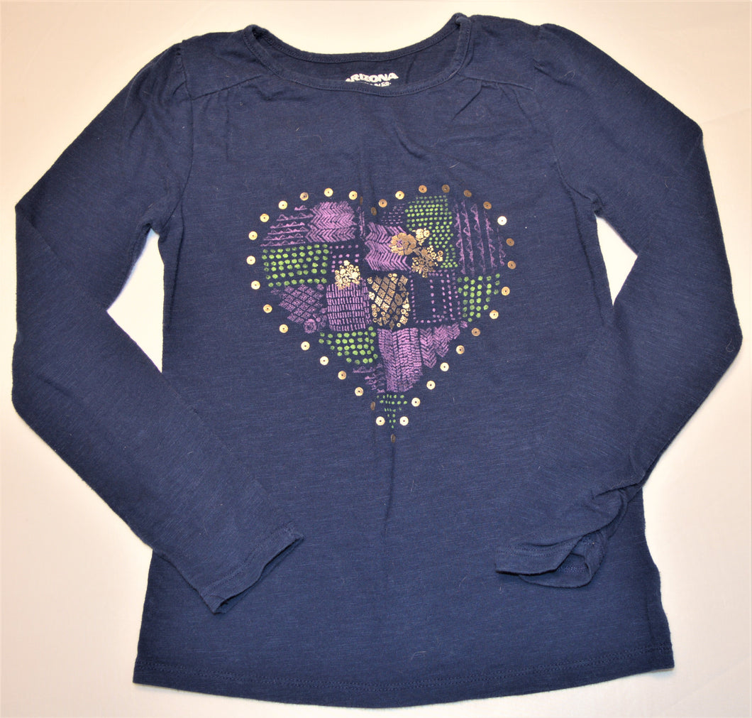 Arizona Jean Co. Blue with Purple Green and Gold Heart Long-sleeve Shirt