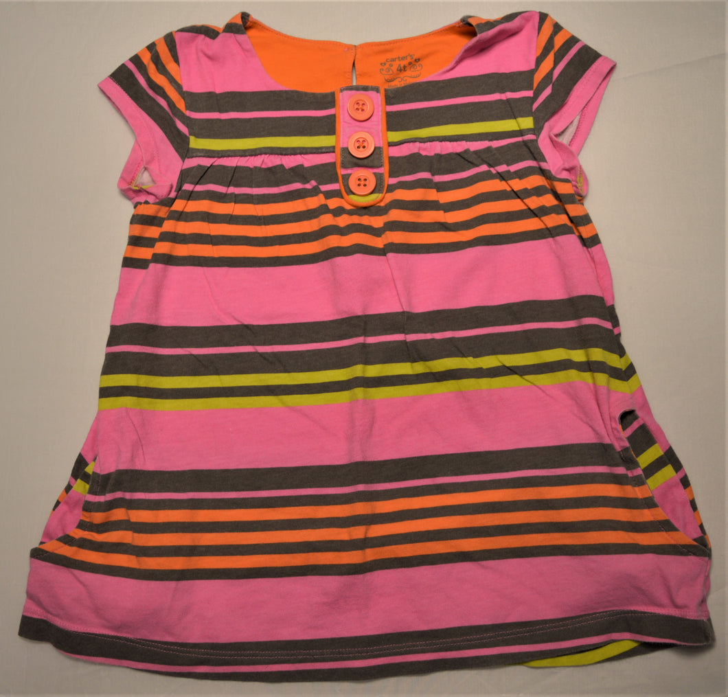 Carter's Pink Orange Brown and Lime Striped Tunic with Pockets