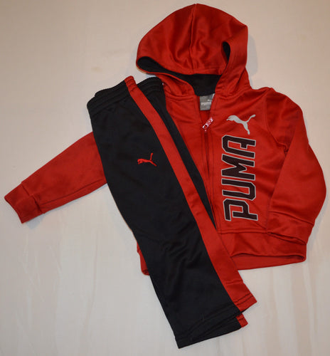 Puma Red Zip-up Hoodie with Matching Black Pants