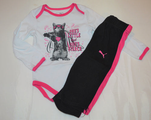 Puma White and Pink She's Little but She's Fierce Super Cat Long-sleeve Onesie with Matching Pants