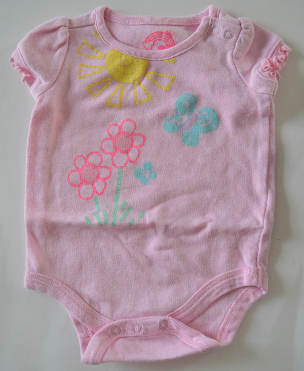 Circo Pink Sunshine Flowers and Butterfly Onesie
