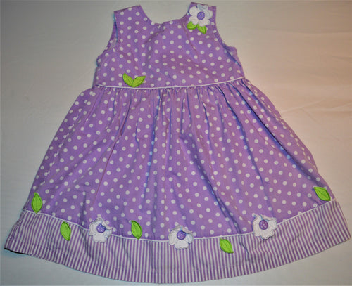 Blueberi Boulevard Purple with White Polka Dot and Flowers Dress