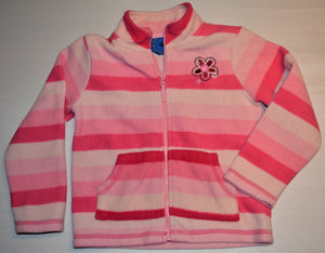 Beagle Bay Pink and White Stripe Fleece 1/4 Zip-up Sweater
