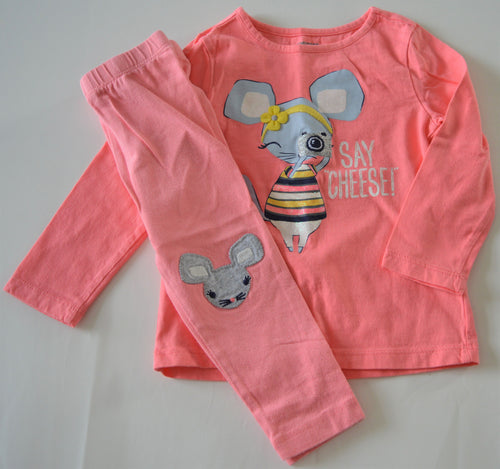 Gymboree Pink with 'Say Cheese!' Mouse and Matching Leggings