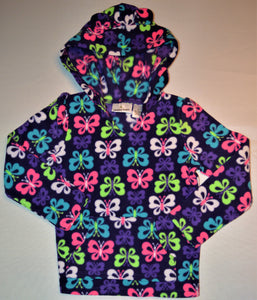 Jumping Beans Purple with Colourful Butterflies Fleece Hoodie