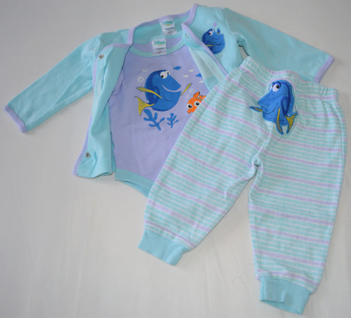 Disney Baby Blue and Purple Dory Cardigan, Onesie and Pants