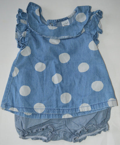 Carter's Blue with White Polka Dots T-Shirt with Bloomers