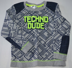 PL Kids Grey with Navy Print and Yellow Techno Guy Long-sleeve Shirt