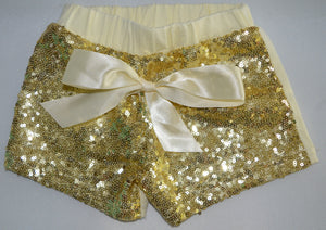 Cream with Gold Sequins Shorts