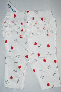 NWT Old Navy White with Cats and Hearts Leggings