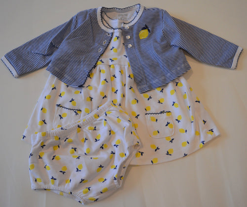 Little Me White with Lemons Dress and Bloomers with Navy and White Striped Cardigan
