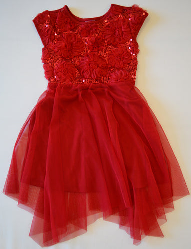 Wonder Nation Red Tulle Flowers and Sequins Top with Tulle Skirt Dress