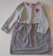 Load image into Gallery viewer, Healthtex Grey with Black and White Stripe Skirt Dress