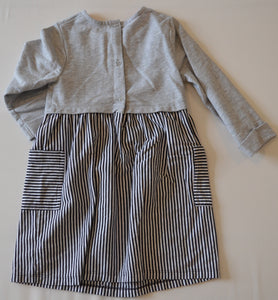 Healthtex Grey with Black and White Stripe Skirt Dress