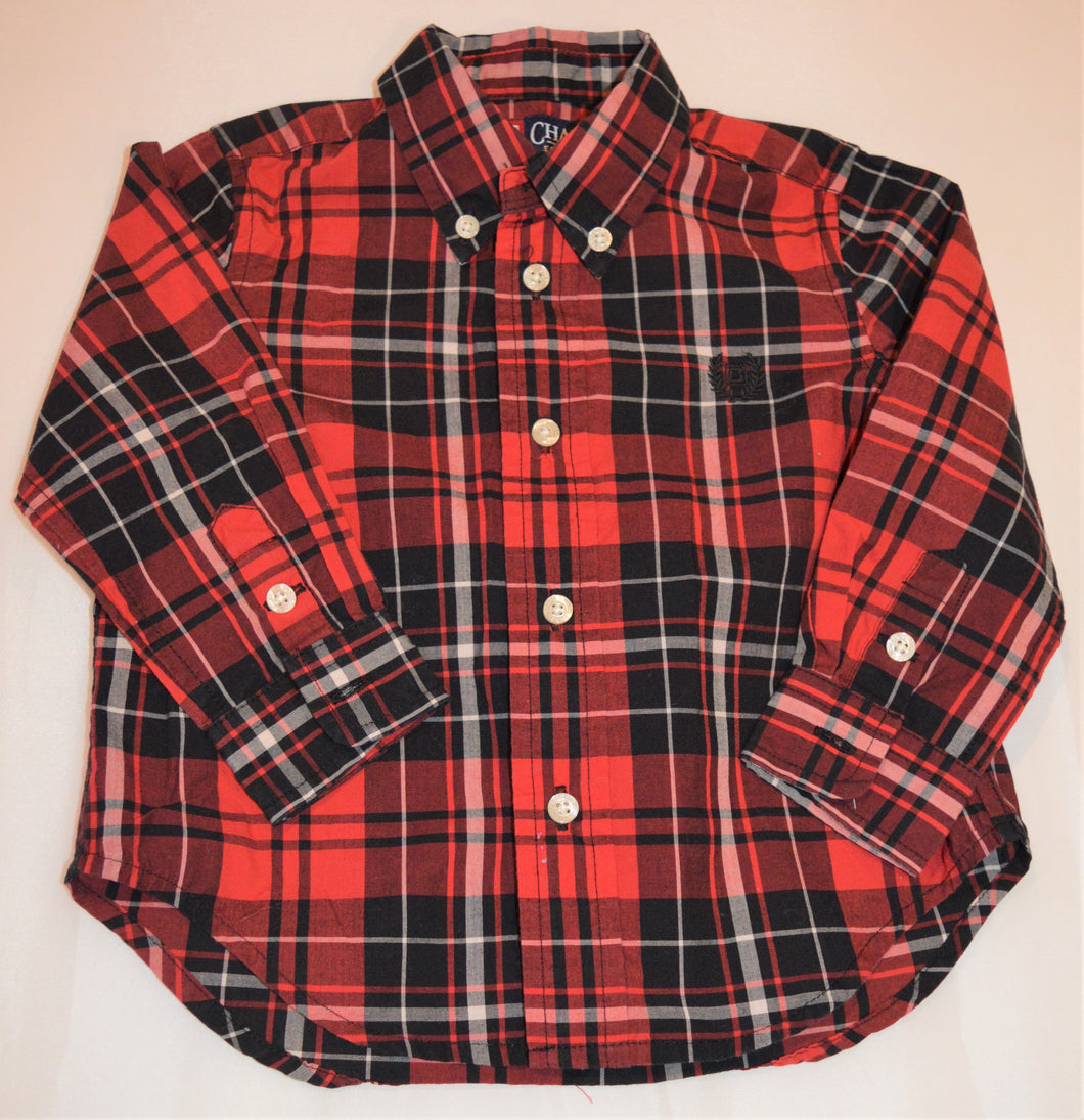 Chaps Red White and Black Plaid Button-up Long-sleeve Shirt