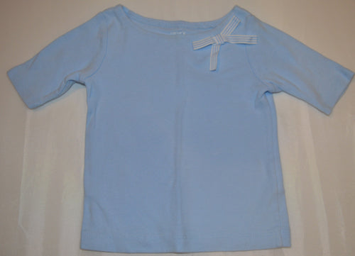 Carter's Blue 3/4 Sleeve Shirt with Striped Bow