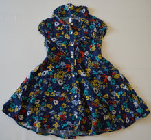 Load image into Gallery viewer, Old Navy Blue with Colourful Flowers Button-Up Dress