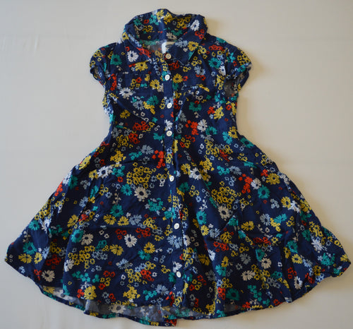 Old Navy Blue with Colourful Flowers Button-Up Dress