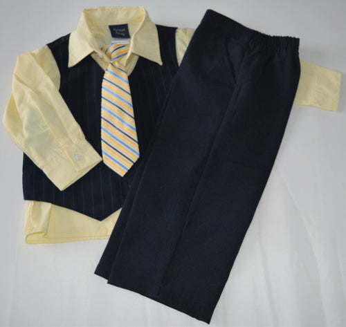 NWOT Great Guy Navy and Yellow Three-piece Outfit with Tie