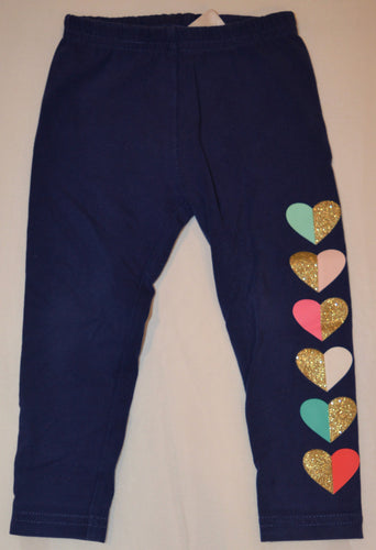 Carter's Blue with Pink Teal and Sparkly Gold Hearts Leggings