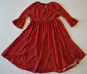 Old Navy Red with Flowers Long-Sleeve Dress