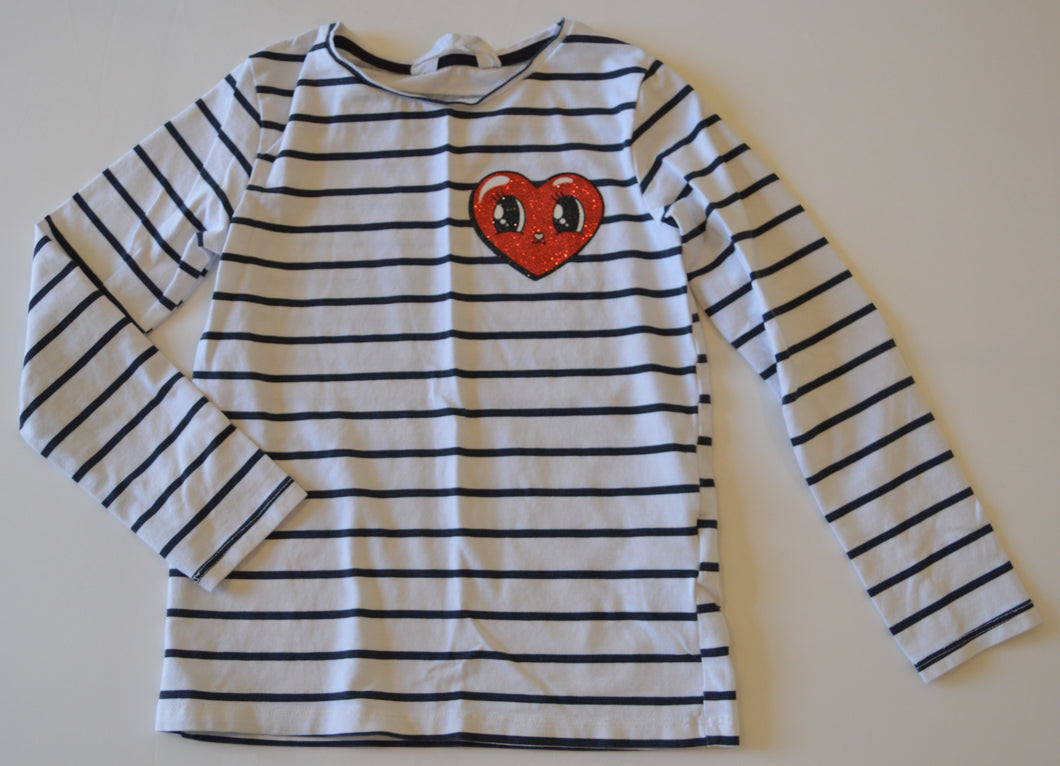 H&M White with Black Stripes and Sparkly Red Hear Long-Sleeve Shirt