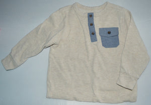 Old Navy Cream with Blue Pocket Long-sleeve Waffle Shirt