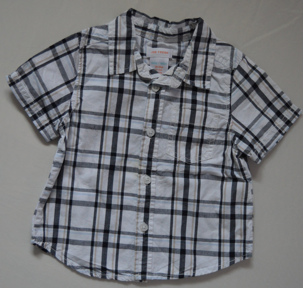 Joe Fresh Black and Tan Plaid Short-sleeve Button-up Shirt