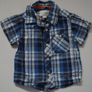 The Children's Place Blue Plaid Short-sleeve Button-up Shirt