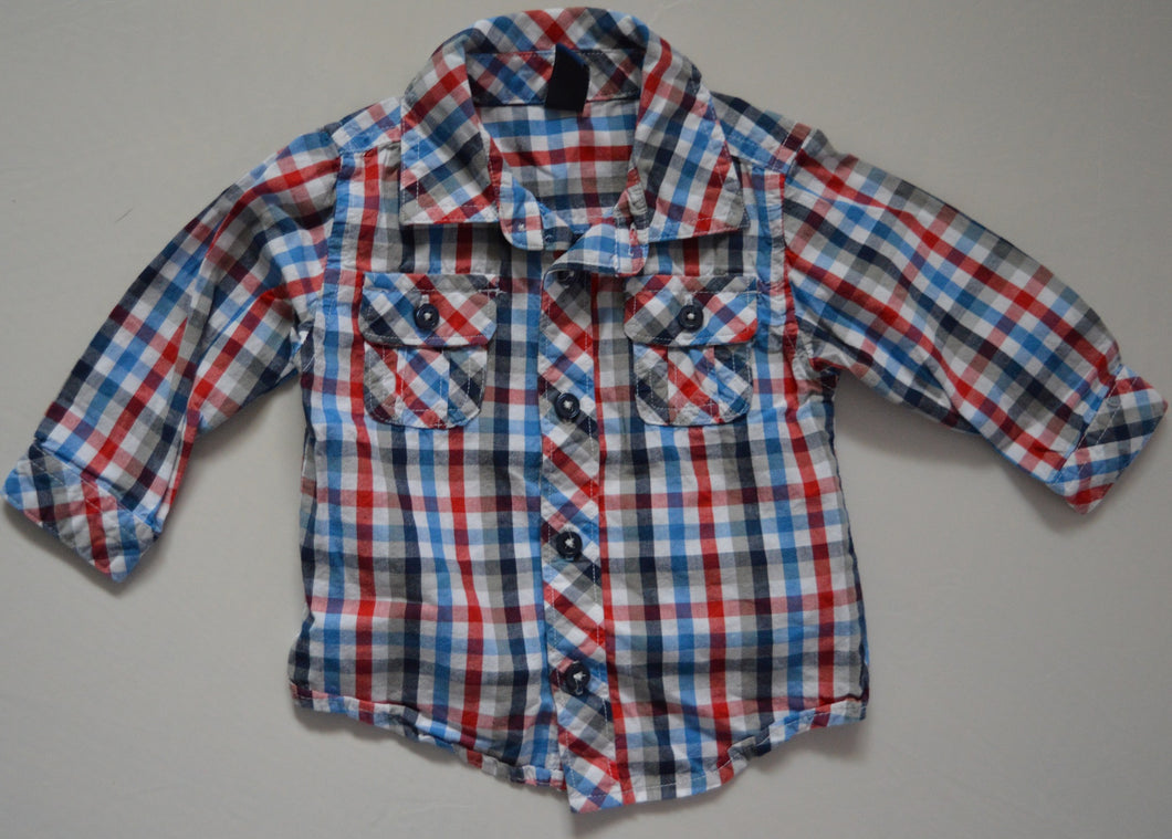Old Navy Red and Blue Plaid Long-sleeve Button-up Shirt