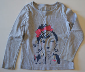Gymboree Grey I Heart Books Girl Long-Sleeve Shirt