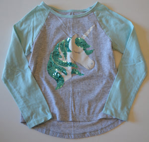 The Children's Place Grey and Mint with Sparkle Unicorn Long-Sleeve Shirt