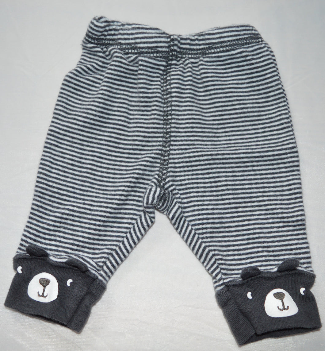 Carter's Black and White Striped Bear Pants