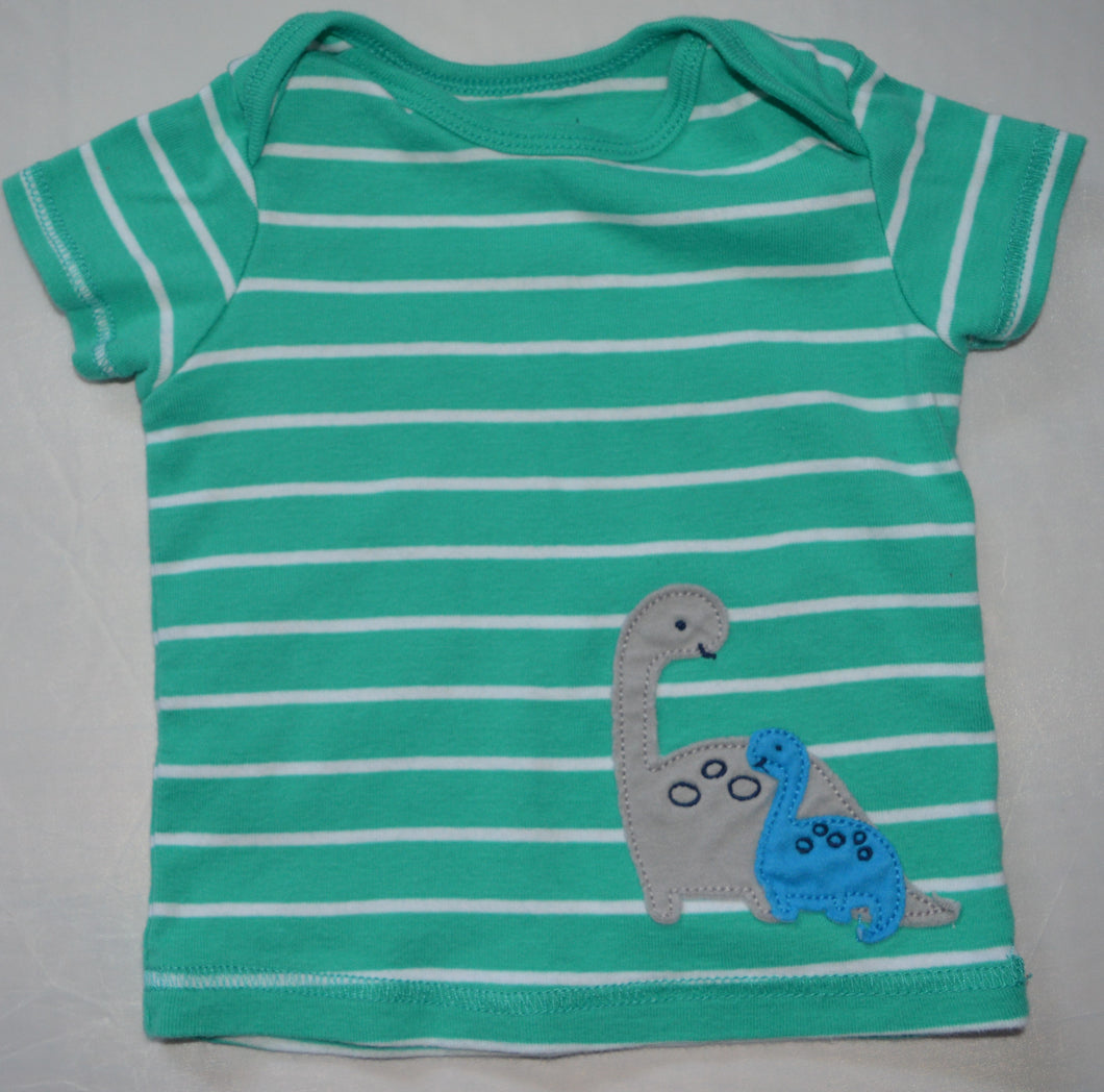 Carter's Teal and White Striped with Dinosaurs T-shirt