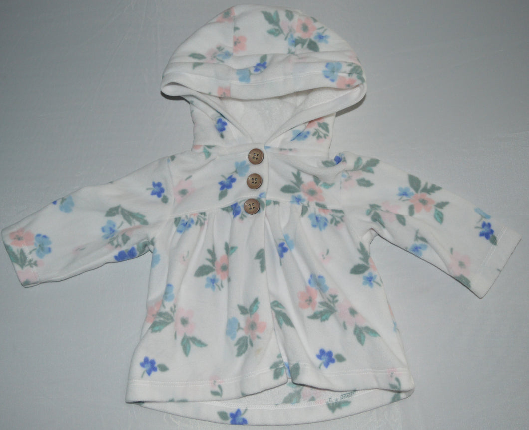 Carter's White with Blue and Pink Flowers 1/4 Button-up Fleece Hoodie