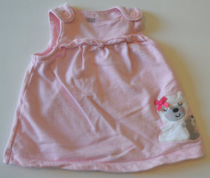 Carter's Pink with Grey and White Bears Overall Dress