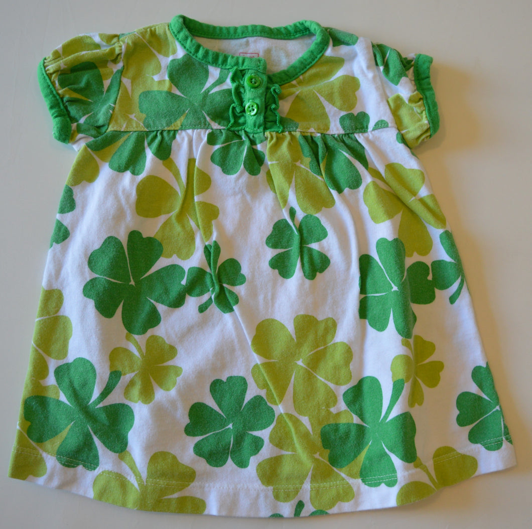 Carter's White with Green Clovers Dress