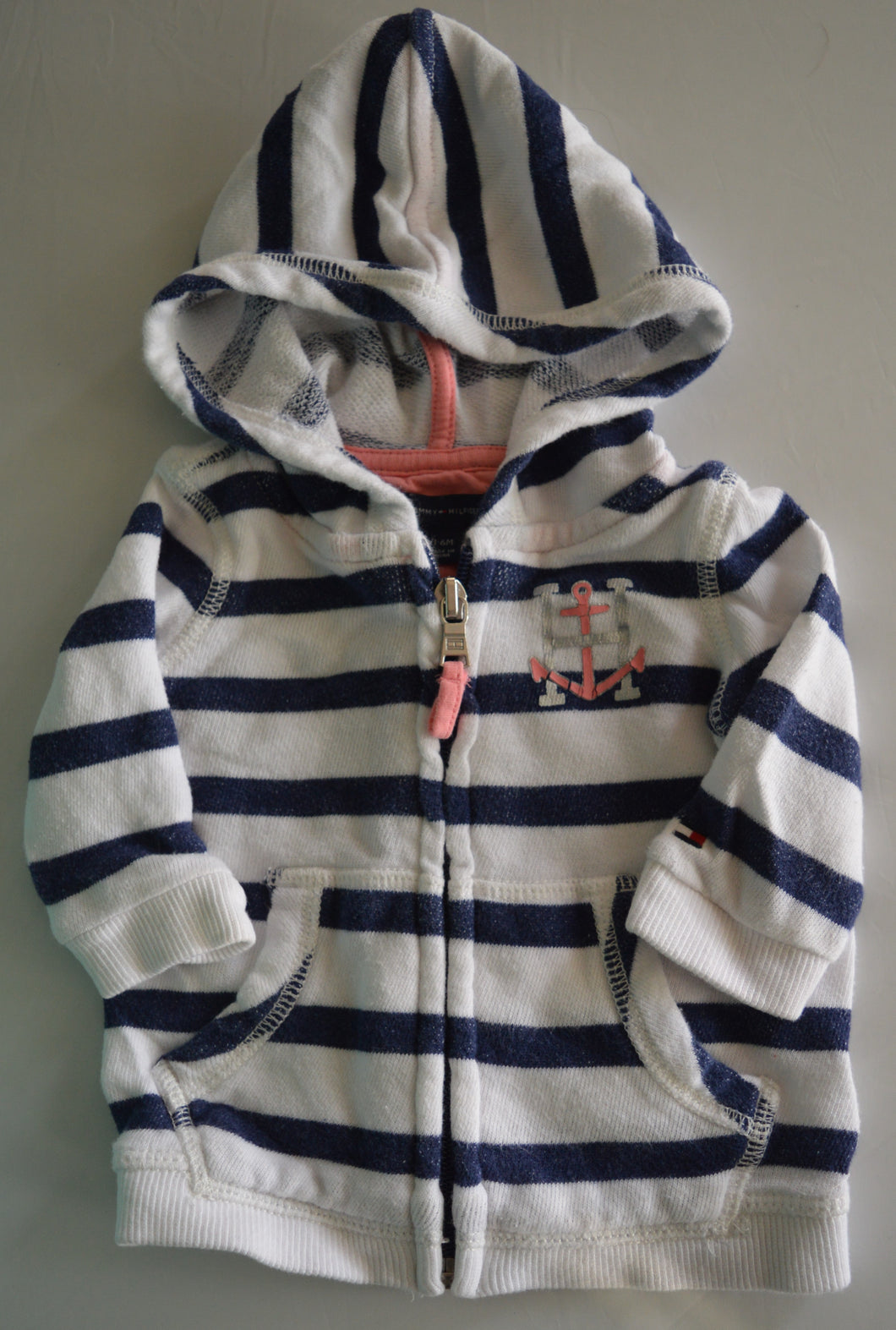 Tommy Hilfiger White with Blue Stripes Zip-up Hoodie