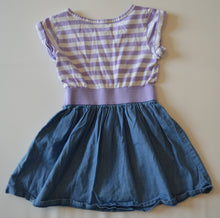 Load image into Gallery viewer, The Children's Place White and Purple Stripes and Silver Sequins Heart with Jean Skirt Dress