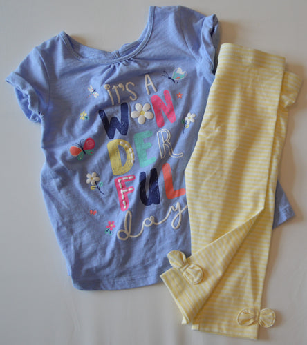 NWOT George Blue It's a Wonderful Day T-Shirt with Yellow and White Striped Leggings