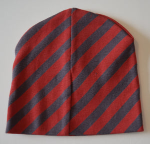 Grey and Red Striped Toque