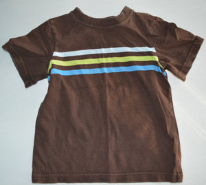 Jumping Beans Brown with Blue and Green Stripes T-shirt