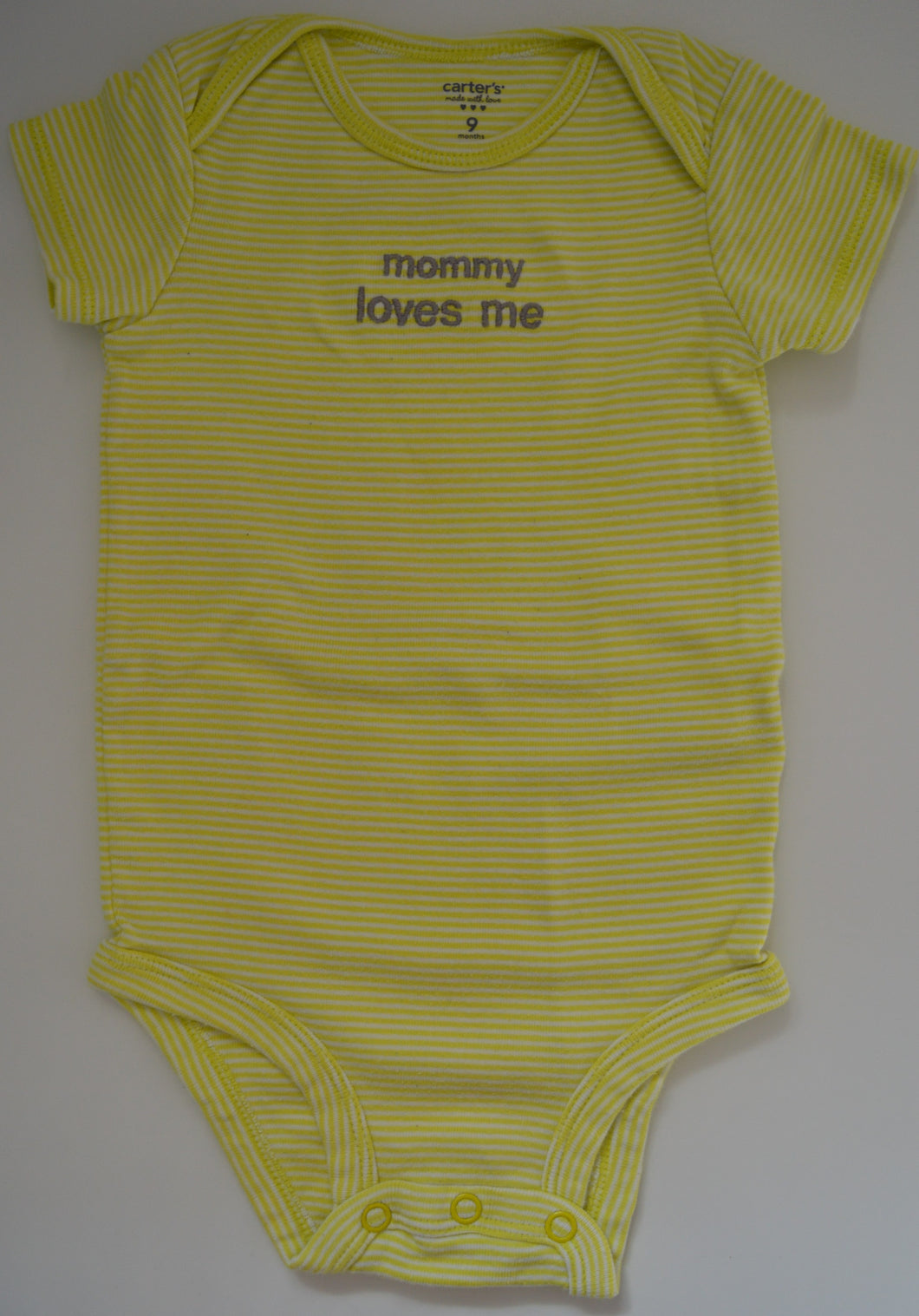 Carter's Green with White Striped Mommy Loves Me Onesie
