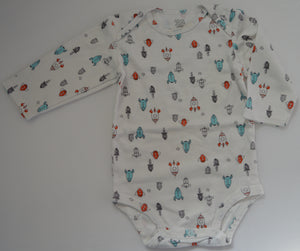 Carter's White with Rocket Ships Long-sleeve Onesie