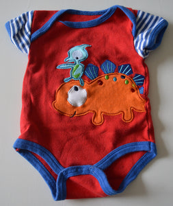 Nuby Red with Orange Stegosaurus and Blue Pterodactyl Onesie