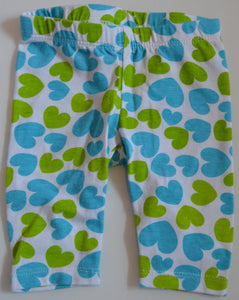 Faded Glory Blue and Green Heart Leggings