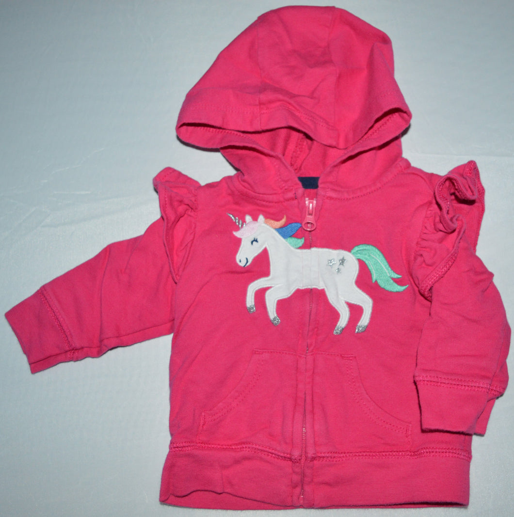 Carter's Pink with White Unicorn Zip-up Hoodie