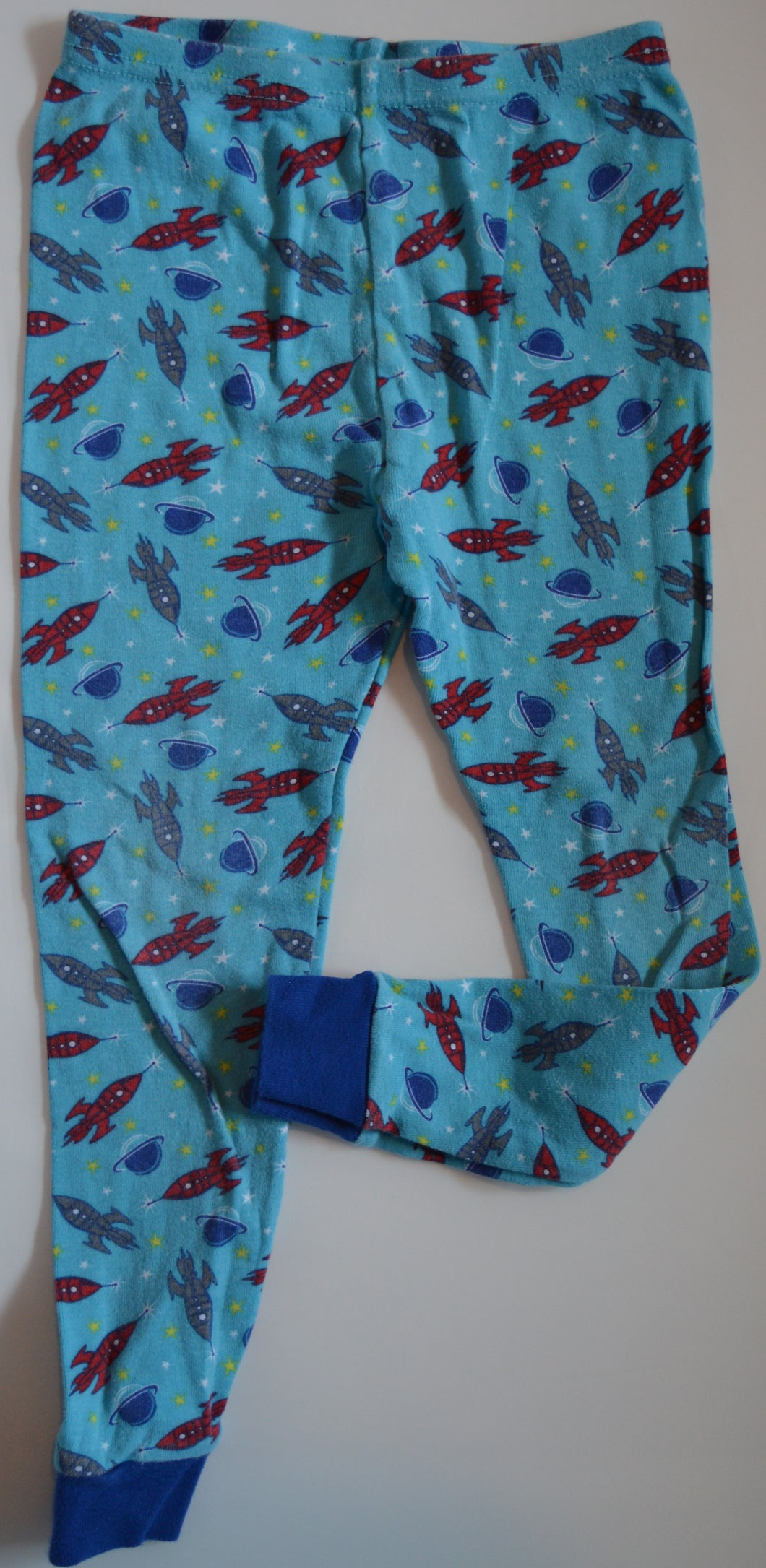 Blue with Red and Grey Rocket Ships Pajama Pants